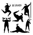 black women training silhouettes isolated vector image
