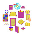 books icons set cartoon style vector image