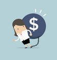 businesswoman carry debt financial concept vector image