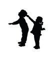 children silhouette standing and playing vector image vector image