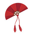 chinese fan with tassels isolated icon geisha vector image vector image