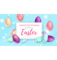 colored eggs near banner with happy easter writing
