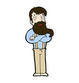 comic cartoon bearded hipster man vector image vector image