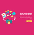 data protection video web banner in flat style vector image