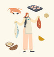 female character holding raw fish for cooking vector image vector image