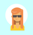 female wearing sun glasses emotion profile icon vector image
