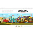 flat amusement park landing page concept vector image vector image