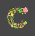 floral summer letter c flower capital wedding vector image