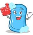 foam finger blue soap character cartoon vector image