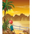 Girl climbing up the palm tree vector image