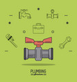 green background poster plumbing services with vector image