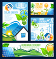 green energy banner of solar wind and hydro power vector image vector image