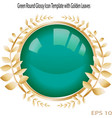 green round icon template with golden leaves vector image vector image