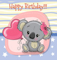 greeting card koala girl with balloon vector image