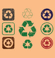 grunge green eco recycling trash can icon shape vector image vector image