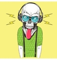 Hand drawn skull listening to music in headphones vector image vector image