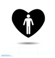 heart black icon love symbol the silhouette vector image vector image