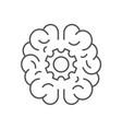 human brain with cogwheel inside linear icon vector image