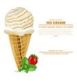 ice cream cone vanilla flavor poster vector image vector image