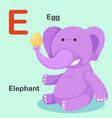 isolated animal alphabet letter e-egg elephant vector image