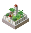 isometric fortress vector image vector image