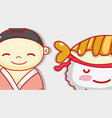 japanese and sushi cute kawaii cartoon vector image vector image