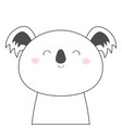 koala bear face head line sketch icon kawaii vector image vector image