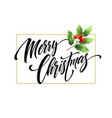 merry christmas hand drawn lettering with vector image vector image