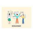 mobile apps development girl man laptop vector image vector image