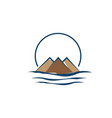 mountain logo with water wave element vector image vector image
