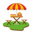 picnic chair with hamburger and hot dog vector image