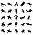 Polo players silhouette set icons simple style vector image