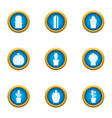 prickly tree icons set flat style vector image vector image
