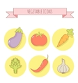 Set of six vegetable icons Linear style vector image vector image