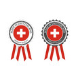 two modern made in switzerland labels vector image vector image