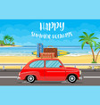 vehicle transport with surfboard and suitcases vector image