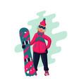 woman with snowboard cartoon active vector image vector image
