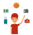 young man tourist traveler with map hat camera vector image vector image