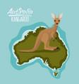 poster kangaroo in australia map in green vector image