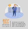 bitcoin concept with flat cartoon character vector image vector image