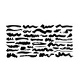 black paint wavy and straight brush strokes vector image vector image