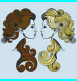 blonde vs brunette vector image vector image