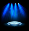 blue spotlights with white podium on dark backgrou vector image vector image