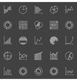 Business graph linear icons vector image vector image
