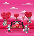 cartoon a group of rabbit in the beautiful pink fi vector image vector image