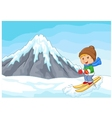 Cartoon alpine skier races extreme hill with icebe vector image