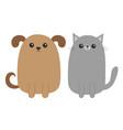 cartoon dog and cat puppy kitten mustache whisker vector image vector image