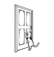 cat near door engraving vector image vector image