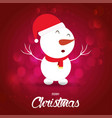 christmas card with snowman red background vector image vector image