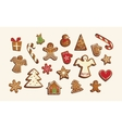 Christmas set of cute gingerbread cookies vector image vector image